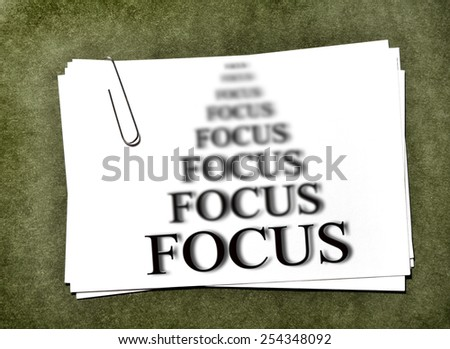 White paper cards with paperclip for business focus on success - stock photo