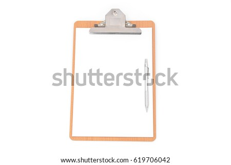 White paper, clip board and pencil on white background.