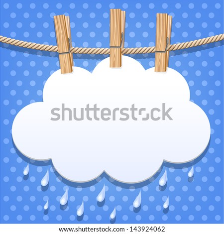 White paper cloud hanging by clothes peg on a clothesline. Raster version. Vector is also available in my gallery - stock photo