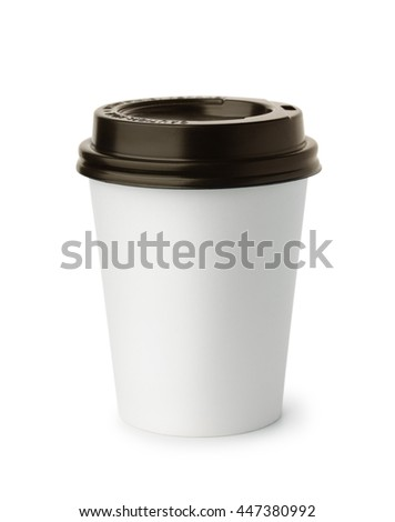 White paper coffee cup isolated on white - stock photo