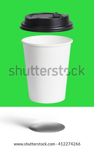 White paper cup and black lid close up on Green screen,Easy selection - stock photo