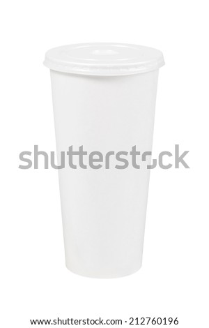 White paper cup of coffee - stock photo