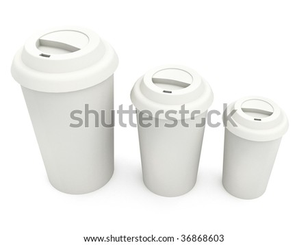 White Paper Cups - stock photo
