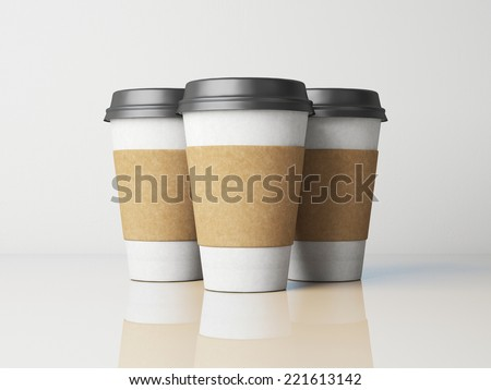 White paper cups with caps - stock photo