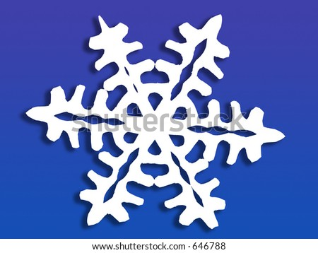 White paper cutout snowflake with jagged edges, easily isolated from background - stock photo
