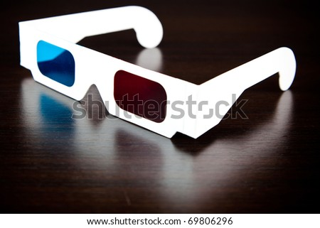 white paper eye glasses for 3d movies - stock photo