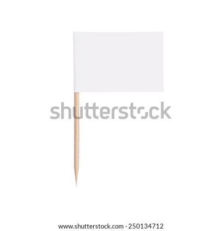 white paper flag. Ready for a Message. Isolated on white background.With clipping path - stock photo