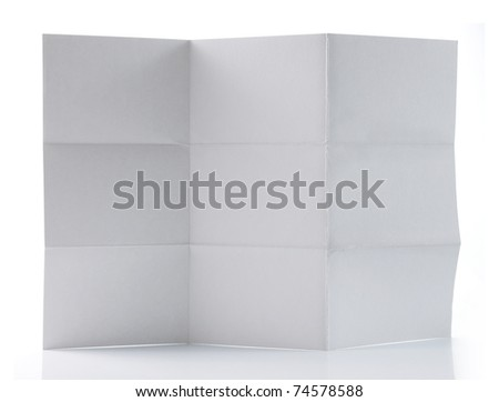 White paper folded and wrinkled isolated over white background - stock photo