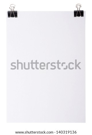 White paper for letter with clip isolated on a white background