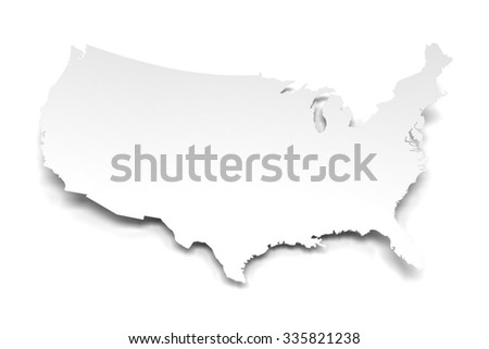 White Paper Map Usa Against White Stock Illustration - Map of usa