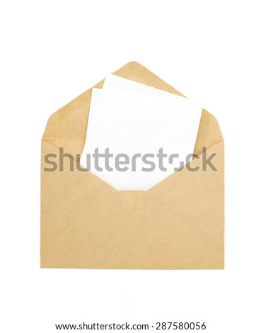 White paper note and brown envelope isolated on white - stock photo