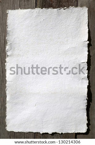 White paper - old, handmade paper, texture or background, document - very old paper for artistic writing with delicate stripes pattern - stock photo
