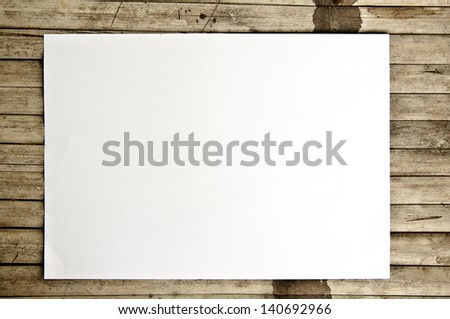 white paper on bamboo background - stock photo