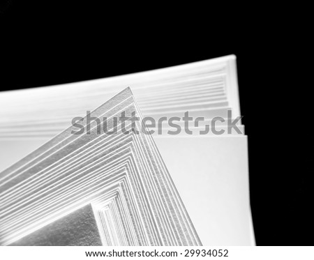 White paper on black background