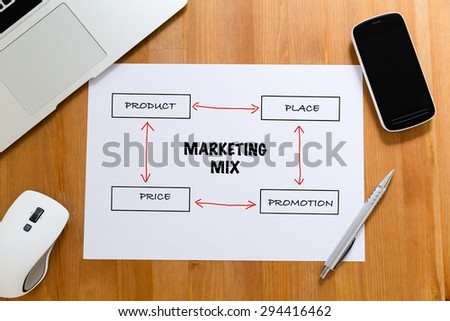 White paper on working desk with hand draft of marketing mix concept - stock photo
