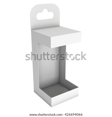 White paper open hanging box. Packaging container with hanging hole. Mock up template. 3d render isolated on white background. - stock photo