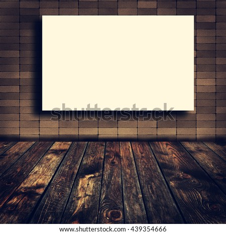 White paper poster lean at brick wall. Template mock up for adding your text  - stock photo