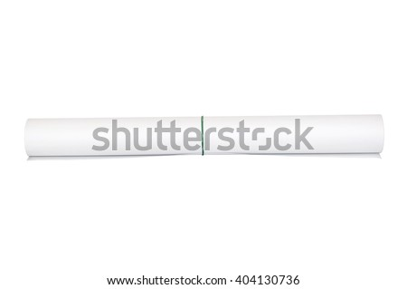 White paper rolled into a roll isolated on white - stock photo