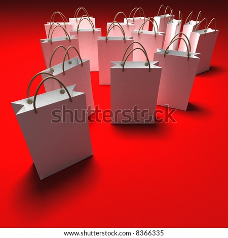 White paper shopping bags against a red background