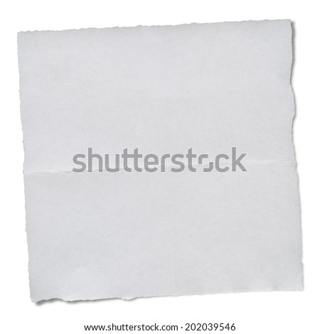 white paper tears, isolated on white with clipping path - stock photo