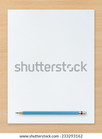 White paper texture background and pencil on wooden background. Abstract background for painting, drawing and sketching. - stock photo