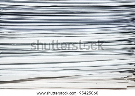 white paper texture background, heap, stack of documents or files, overload of paperwork - stock photo