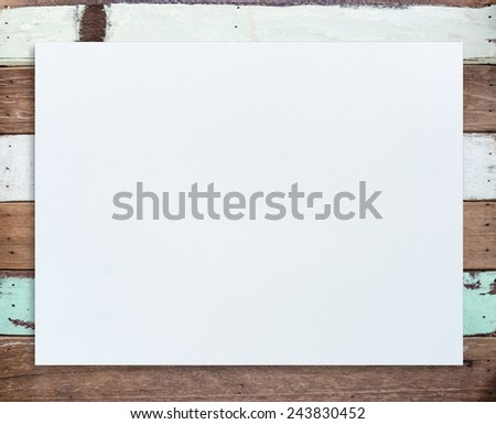 White paper texture for painting, drawing and sketching on vintage wood texture. - stock photo