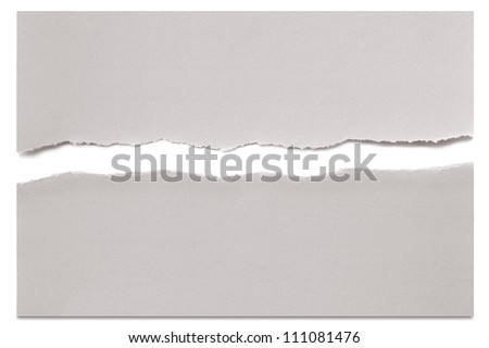 White paper torn in half over white with soft shadow. - stock photo