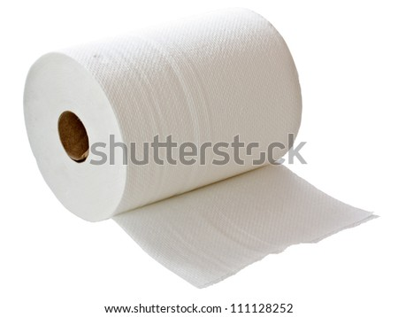 White paper towel roll isolated on white