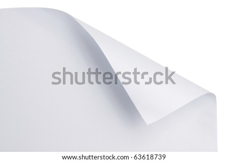 White paper with corner curl - stock photo