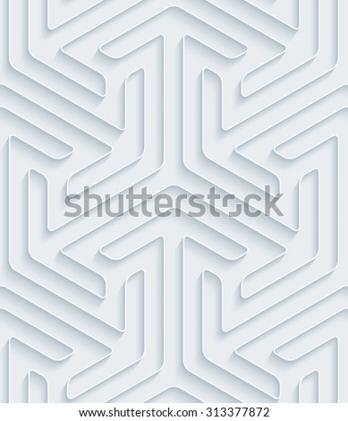 White paper with outline extrude effect. Abstract 3d seamless background. - stock photo