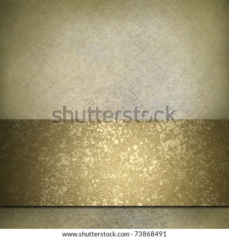 white parchment background or canvas with gold accent color, bronze gold ribbon stripe, design layout, antique illustration feel, grunge texture, and copy space - stock photo