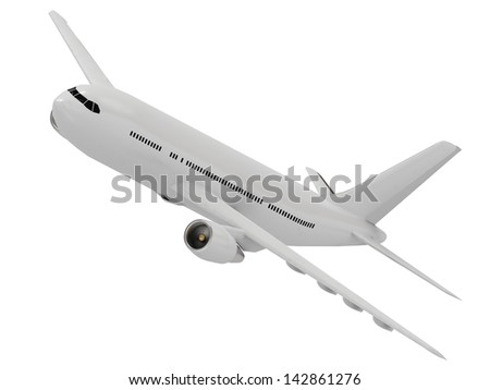 White passenger airliner flies in the sky. View isolated on white - stock photo