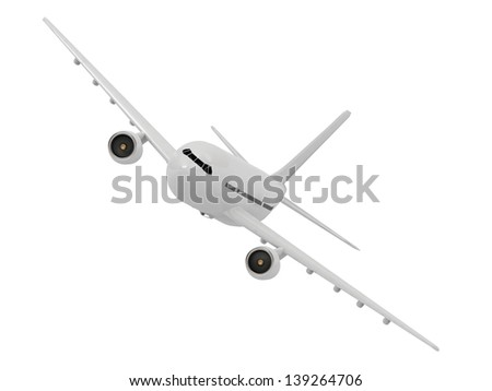 White passenger airliner makes a turn on a white background - stock photo