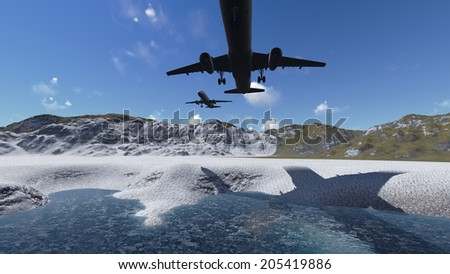 White passenger plane flying in the blue sky  m ade in 3d software - stock photo