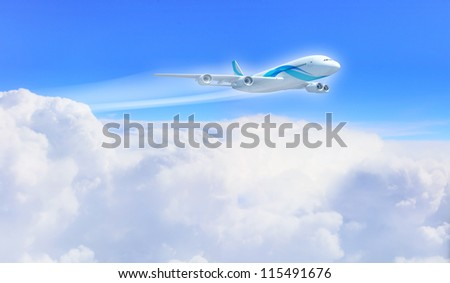 White passenger plane flying in the blue sky with white clouds around - stock photo