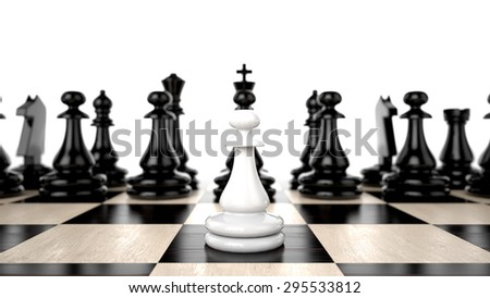 White Pawn in the foreground against a background of black army chips - stock photo