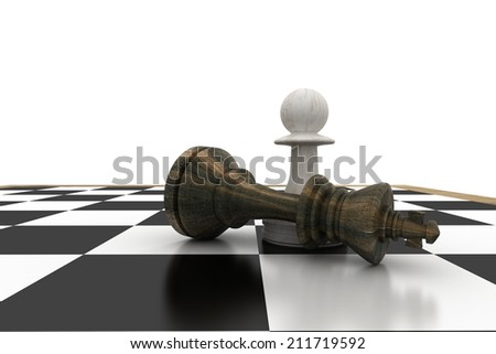 White pawn standing over fallen black king on white background