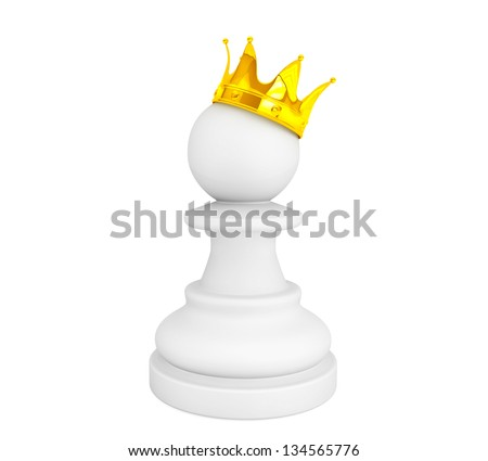 White pawn with a golden crown on a white background - stock photo
