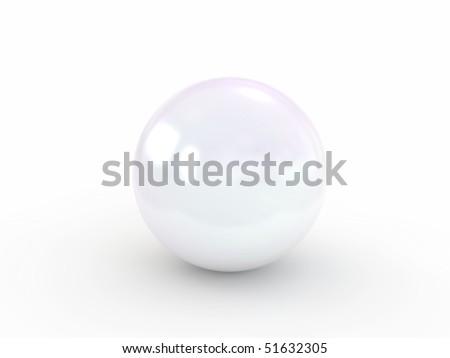 white pearl isolated on white - stock photo