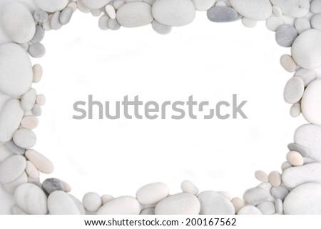 white pebble stone frame border background - stock photo
