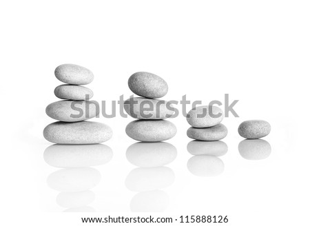 white PEBBLES ARRANGEMENT, - stock photo