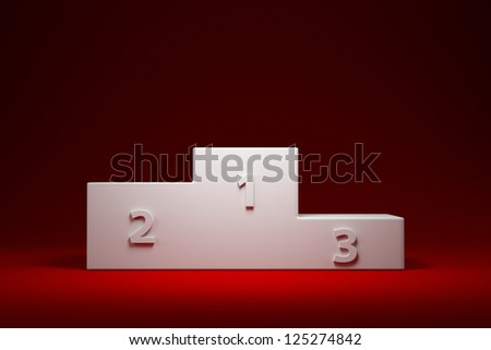 White pedestal with first, second and third places - stock photo