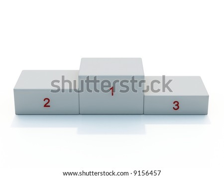 White pedestal with red numerals isolated on white - stock photo