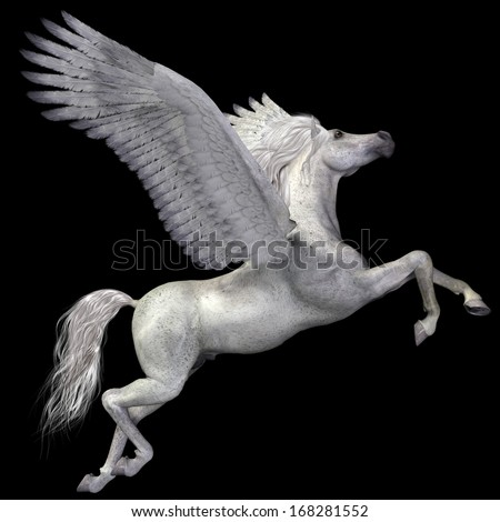 White Pegasus Profile - A magical white Pegasus spreads its wings and flies up into the sky. - stock photo