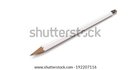 white pencil on white background 3d render - stock photo