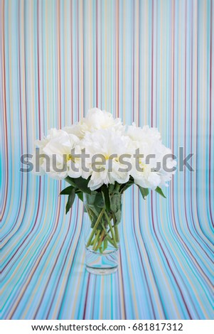 White peonies bouquet in a crystal vase on a cyan, yellow and red striped background