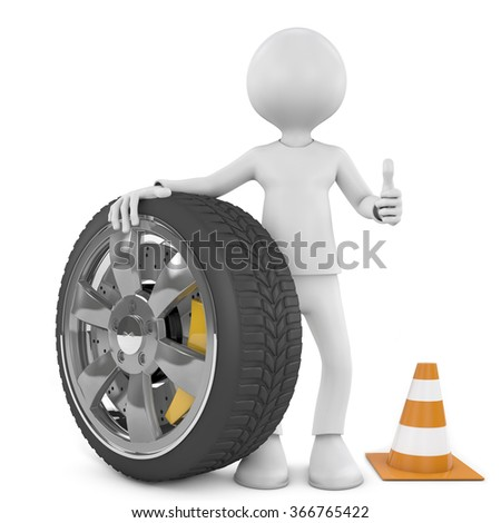 White people with wheel. Mechanic concept. 3d renderer. - stock photo