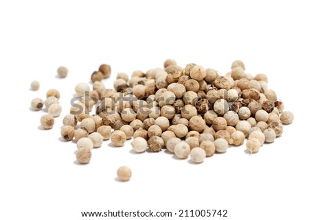 white peppercorn on white background