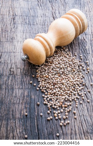 white peppercorns and wooden pepper shaker on wooden table top - stock photo